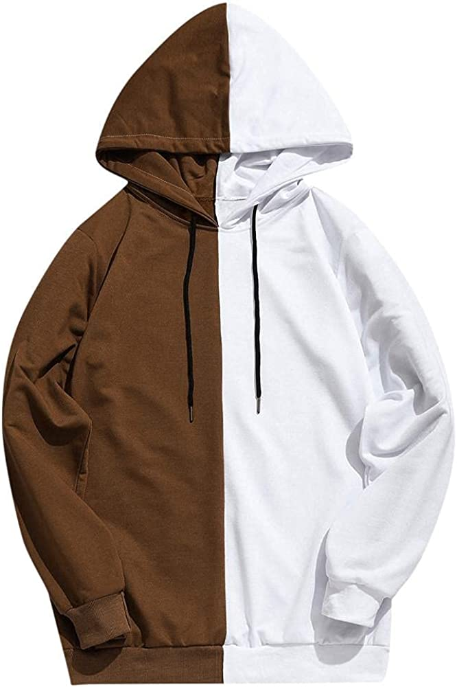 Aayomet Hoodies Sweatshirts Fashion Patchwork Color Block Tops Long Sleeve Casual Hooded Pullover Sweaters Blouses for Men