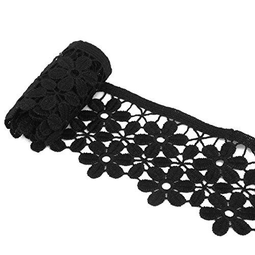 luoem Spitze Trim bestickter Blume Spitzenborte Einfassung Schwarz Spitze Trim Nähen Craft 8cm 3yd