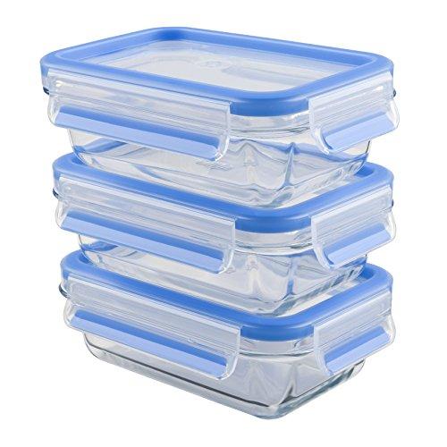 Emsa 514961, 3 recipientes herméticos de cristal, 3 x 0.5 Litros, Transparente/Azul, Clip & Close