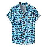 JJZSL Tallas Grandes Camisas Para Hombres Hombre Colorido Manga Corta Botones Sueltos Hawaiian Casual Shirt Blusa De Playa (Color : Blue, Size : XXXL code)