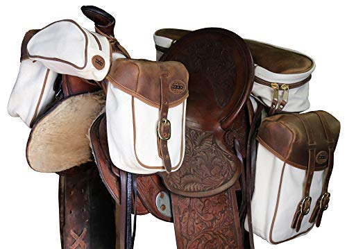 TrailMax Canvas & Leather 4-PC Horse Saddle Bag Set for Trail Riding, Includes Saddlebags, Cantle Bag, Pommel Pocket & Pommel/Horn Bags, All Have Premium Leather, Rugged Canvas & Brass Hardware