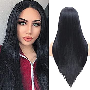 Fani Black Wig Long Straight Middle Part Synthetic Hair Wig Morticia Addams Costume Fascinating Women Wig with Free Wig Cap  Black