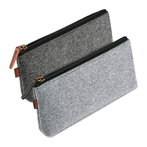 Estuche de fieltro para papelería, tamaño medio y gris oscuro con cremallera, utilizado para borrador, marcador de lápiz, suministros escolares de almacenamiento (2 unidades)