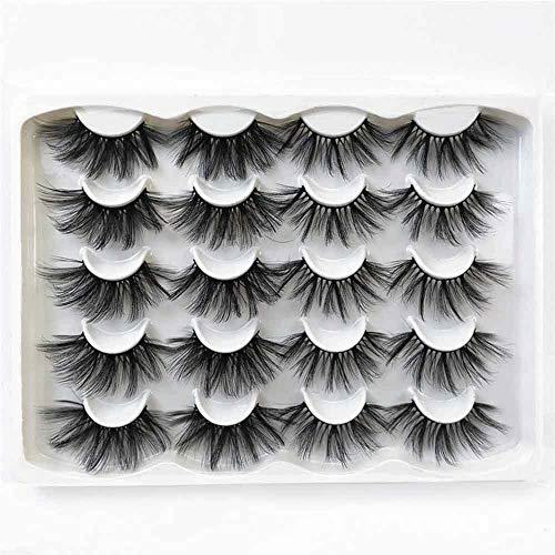 SKONHED 10 Pairs Mode Grausamkeitsfrei Soft Wispies Handarbeit 3D Mink Eye Lashes Erweiterung der Lash Lange Dramatik 25mm False Augenbrauen(JC114)