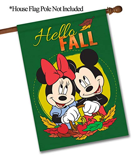 """Flagology.com, Disney, Mickey Mouse & Minnie Mouse, Hello Fall Mickey Minnie – House Flag – 28"""" x 40"""", Outdoor, Large, Exclusive Premium Fabric, Printed on Both Sides, Fall,Officially Licensed Disney"""