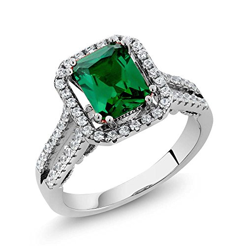 2.78 Ct Octagon Green Simulated Emerald 925 Sterling Silver Ring  size 5 Amethyst Pink Sapphire Ring