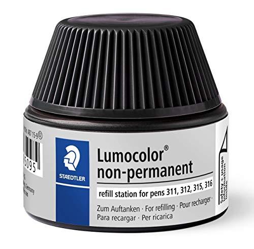 Staedtler 487 15 Flacon de Recharge d'encre universelle Non-permanente Lumocolor pour Stylos 311, 312, 315 et 316 Capacité 15-20 recharges Noir