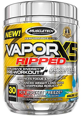 Pre Workout + Weight Loss | MuscleTech Vapor X5 Ripped | Pre Workout Powder for Men & Women | PreWorkout Energy Powder Drink Mix | Sports Nutrition Pre-Workout Products | Strawberry Limeade (30 Serv.)