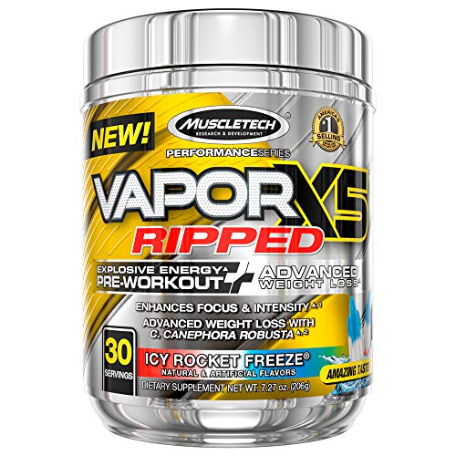 Pre Workout + Weight Loss | MuscleTech Vapor X5 Ripped | Pre Workout Powder for Men & Women | PreWorkout Energy Powder Drink Mix | Sports Nutrition Pre-Workout Products | Icy Rocket Freeze (30 Serv.)