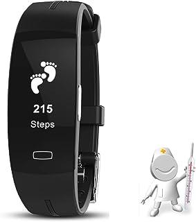 WYCDA Smartwatch Bluetooth Relojes Deportivos con Termómetro Monitor De Sueño Pulsómetros Podómetro Contador de Caloría para iOS y Android,Negro