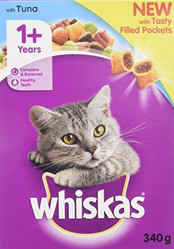 whiskas 1+ Katzentrockenfutter für ausgewachsene Katzen mit Thunfisch, 6 Beutel (6 x 340 g)