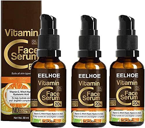 QGANG Extracto de Hamamelis + Vitamina C + Serum Facial Hialurónico Crema Antiarrugas Envejecimiento (3PCS)