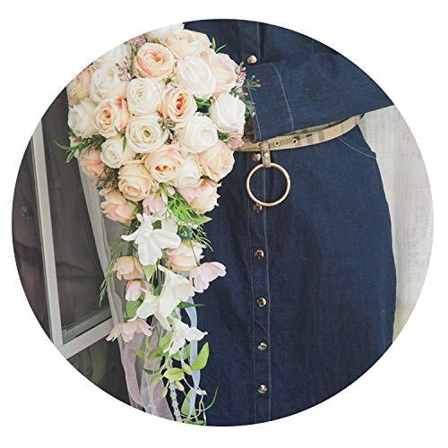 ZT-shop Romantische Wasser-Tropfen-Hochzeits-Silk Blumen-Braut Blumenstrauß Elfenbein Coral Rose künstlichen Wasserfall-Braut Blumenstrauß Dekor