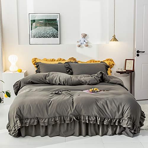 PRGA Bettwäsche Bettbezug Set Aus 4 Matratzen-Set Bettwäsche Baumwolle Superweiche Doppelschichtige Mikrofaser-Hotelserie Leichtes Reversibles Anti-Falten-Mittel Gegen Allergien