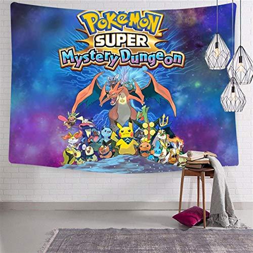 SJUK Tapestry Art Wall Hanging Po-k-emo-n Pik-ach-u Tapestry Decorations Bedroom Living Room Dorm 51.2 x 59.1 Inch