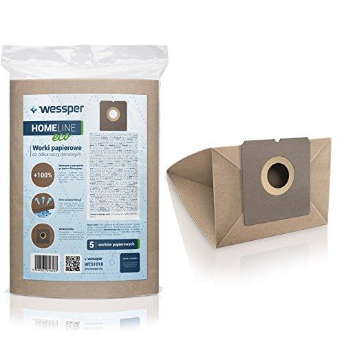 Wessper Bolsas de aspiradora para Fagor VCE 300 (5 Piezas, Papel)