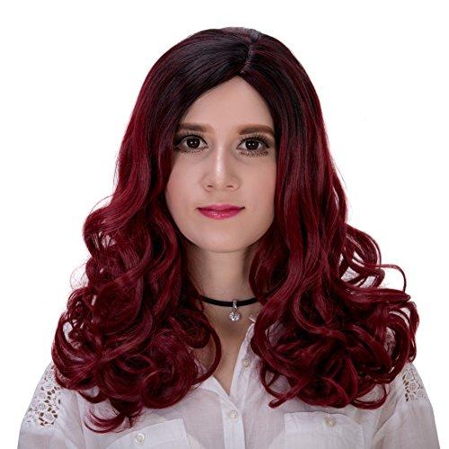 Femme Cheveux longs bouclés d'animation Halloween Cosplay Perruque 45 cm avec capuchon
