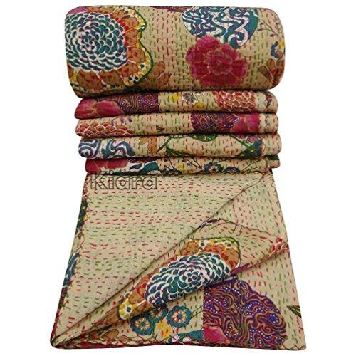 Kiara Colcha india vintage étnica de algodón con diseño de frutas Kantha, colcha de patchwork, tamaño individual o queen (crema (blanco roto), Queen)