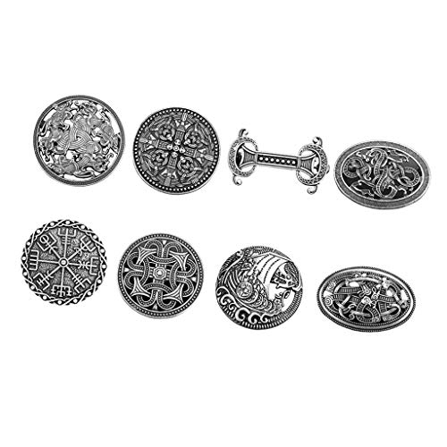 LoveinDIY 8Pcs Medieval Viking Shield Brooch Celtic Norse Vintage Jewelry, Gothic Irish Viking Scarf Lapel Pin