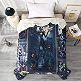 DECMAY Before Christmas Throw Blanket Flannel Fleece Bedding Blankets 60x80 Inches Ultra Soft for Bed Couch Chair Super Soft Halloween King Jack Pumpkin Fan Art Gift Wedding Blanket
