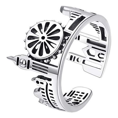 Happyyami Ring Stadt Muster Design Offener Ring Verstellbare Offene Band Einzigartige Hochzeit Verlobung Jubiläum Wickelring für Frauen Männer Fingerschmuck