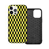 Compatible con iPhone 12 / iPhone 12 Pro funda, amarillo negro medio pulgada tablero de ajedrez suave antideslizante a prueba de golpes funda protectora para teléfono iPhone