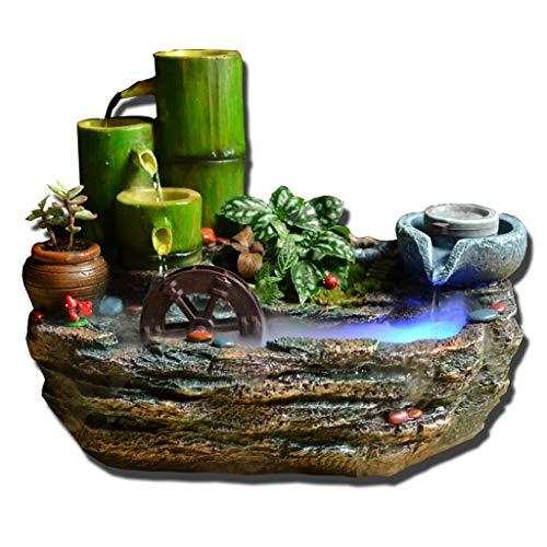 LKUH Inicio Fuentes de Interior Escritorio Fuente de bambú de rocalla Agua Decoración Resina el Modelado de Ministerio del Interior Artesanía Decoración Decoración hogareña