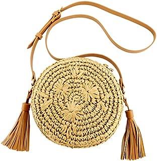 TOOGOO Round Women Lady Handmade Knitted Woven Rattan Bags Straw Messenger Beach Bag Girl National Handbags Messenger Bags Light Brown
