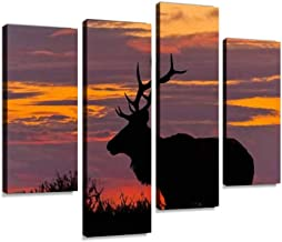 Bull Tule Elk Silhouetted at Sunset Canvas Wall Art Hanging Paintings Modern Artwork Abstract Picture Prints Home Decoration Gift Unique Designed Framed 4 Panel