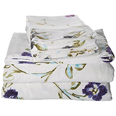 Tribeca Living Queen Floral Garden Printed Extra Deep Pocket Flannel Sheet Set