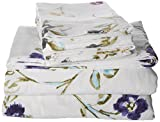 Tribeca Living California King Floral Garden Printed Extra Deep Pocket Flannel Sheet Set