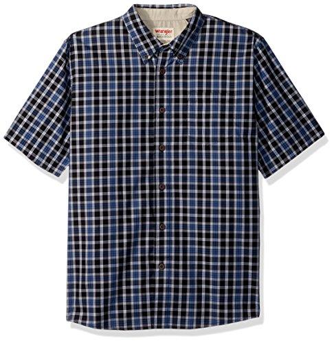 Wrangler Authentics Men's Short Sleeve Plaid Woven Shirt, Caviar, 2XL