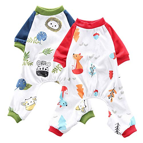Oncpcare Hunde-Pyjama, Löwe + Fuchs, weiche Baumwolle, für Hunde, Schlafanzug, Schlafanzug, Nachtwäsche für Hunde, Welpen, Katzen, 2 Stück