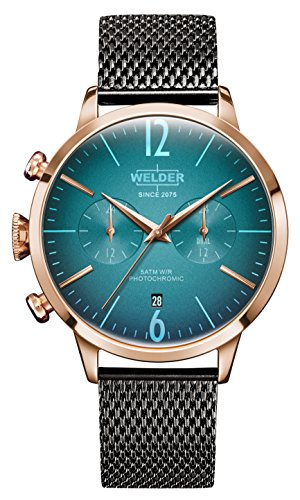 Welder Moody Acero Inoxidable Gunmetal Mesh Dual Time Rose Gold Tone Reloj con fecha 42mm