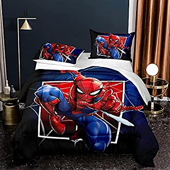 Marvel Spiderman Comforter Set Twin Size Superhero Bedding Quilts for Boys Kids Blue & Red ,1 Comfoter +1 Pillowcase