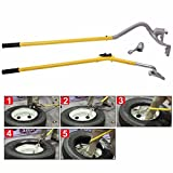 JAXPETY 17.5' to 24.5' Tire Changer, Tire Mount Demount Tool Kit Tubeless Truck Extra Bead Keeper New, Yellow