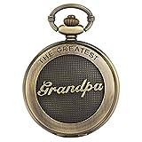 Atractivo reloj de bolsillo con patrón de abuelo para hombres, esfera blanca grande clásica con relojes de bolsillo con números romanos para el abuelo, reloj colgante de cadena en bruto para homb