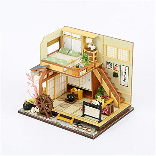 JWIL Toy cabin Wooden Dolls House with Furniture and Accessories Handmade DIY Hut Creative Building Puzzle Toy Doll House Japanese Style Building as birthday/Christmas