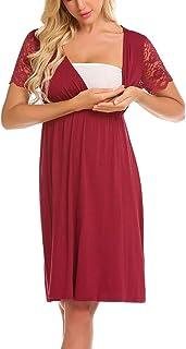 Camicia da Notte Allattamento Pigiama maternit/à Vestaglia Donna Incinta Gravidanza Abbigliamento Eleganti FRAUIT Vestiti Premaman Donna Cerimonia con Scollo A V