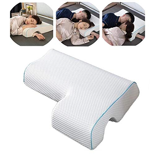 JSYMJSY Couples Pillow, Breathable Memory Foam Pillow for Arm Rest, Arched Cuddle Anti-Hand Pressure Pillow for Couples Sleeping, Memory Foam Pillows for Sleeping (Tencel Fabric, Left)