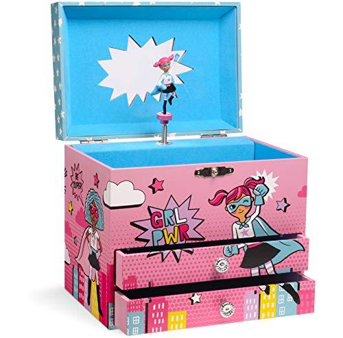 portagioie musicale Jewelkeeper - Carillon Portagioie Musicale Design Girl Power Superhero con 2 Cassetti Estraibili - Melodia di Per Elisa