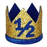 Maticr Glitter 1/2 Birthday Crown Baby Boy Crown Headband 6 Month Half Birthday Hats for Cake Smash Photo Prop (Gold Royal 1/2)