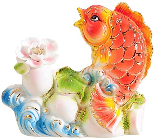 Ornament Art Decorative ceramic handmade carp statue Feng Shui goldfish decorations living room office crafts Ornaments Year gifts Ornament Figurine (Size:Small) Home Decor