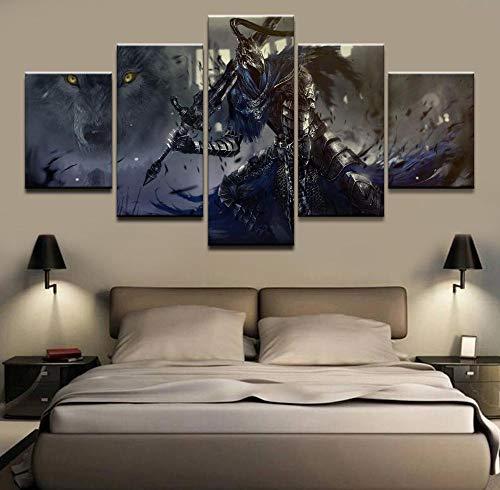 RuYun Modulaire afbeelding Home decoratieve muurkunst tekenen 5 panelen kruiwagen poster voor moderne slaapkamer canvas painting-30x40cm-2p_30x60cm-2p_30x80cm-1p Geen lijst