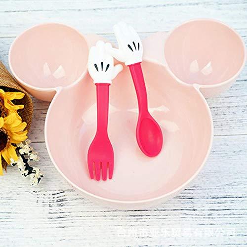 ATP - Juego de vajilla, cuchara/tenedor de plástico, para niños, color negro y rojo