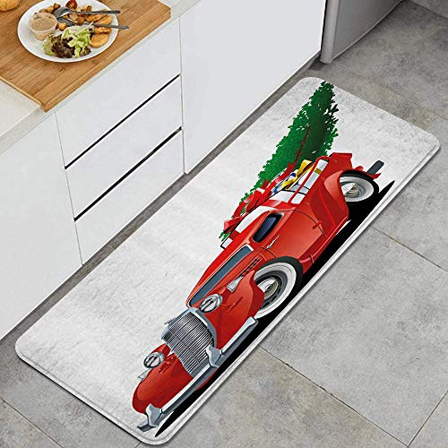 MATEKULI Küchenläufer,Amerikanischer Weihnachtslastwagen mit großem Weihnachtsbaum und Geschenkboxen-Abhol-Retro-Fahrzeug,Waschbar rutschfest Küchenmatte Küchenteppich Waschbar Teppich Läufer