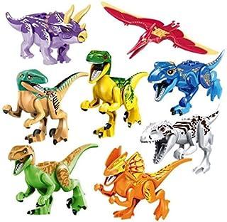 SooFam Dinosaur Toys:T-Rex Double Ridge Dragon Tyrannosaurus Pterosaurs Pirates of The Dragon Triceratops Raptor, 8X Juras...