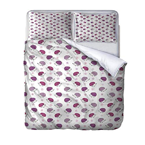 UWKDEK Single Duvet Cover Set 3D Little hedgehog Printed Bedding Set 3pcsWith Zipper Closure in Polyester,1 Quilt Cover 2 Pillowcases,for Teens Adults and girls,140cmWx200cmH