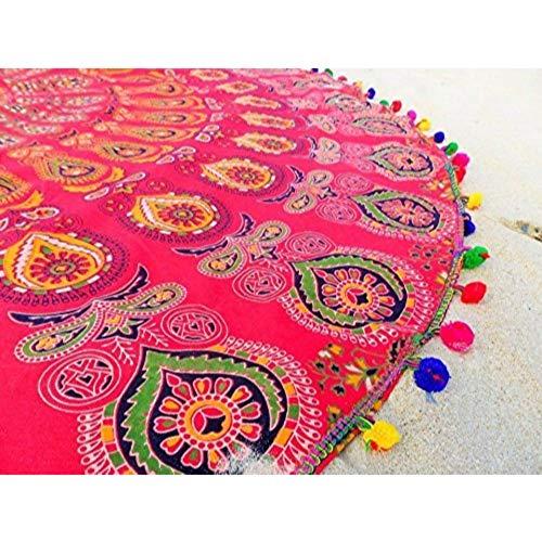 NANDNANDINI TEXTILE Mandala India Mandala Ronda de Playa Tapa de Playa Hippie Boho Mantel Gitana Toalla de Playa Toalla, Ronda Mat Yoga