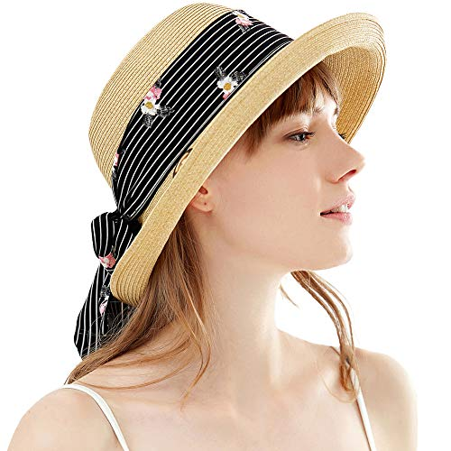 SIGGI SIGGI Damen Sonnenhut Faltbarer Sommerhut mit Kinnriemen breite Krempe